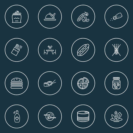 Eating icons line style set with sushi rolls, gluten free, onion rolls and other medicine elements. Isolated vector illustration eating icons. Ilustracja