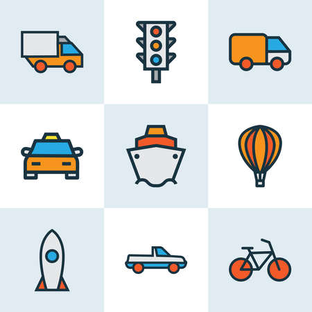 Transportation icons colored line set with balloon, bike, rocket and other suv elements. Isolated vector illustration transportation icons.