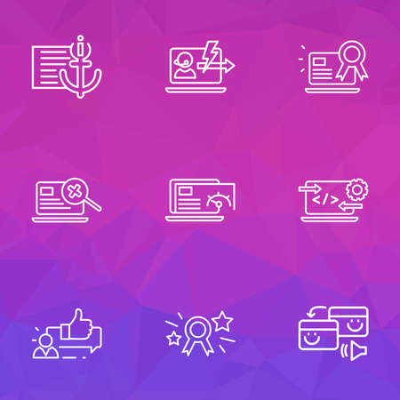 Optimization icons line style set with page speed, pingback, immediate response and other best website elements. Isolated vector illustration optimization icons.