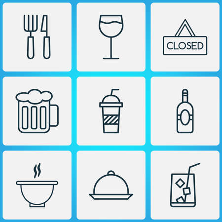 Eating icons set with soft drink, cutlery, beer and other closed placard elements. Isolated vector illustration eating icons.