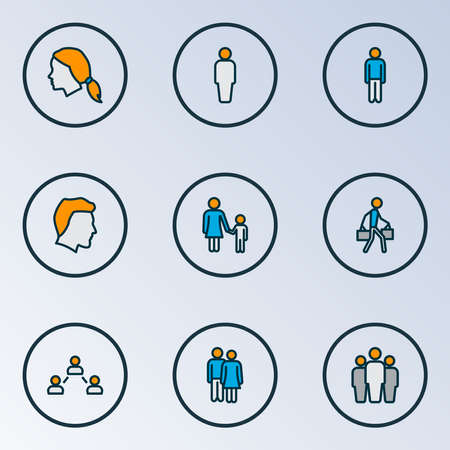 People icons colored line set with social relations, team, user and other male   elements. Isolated vector illustration people icons. Ilustracja