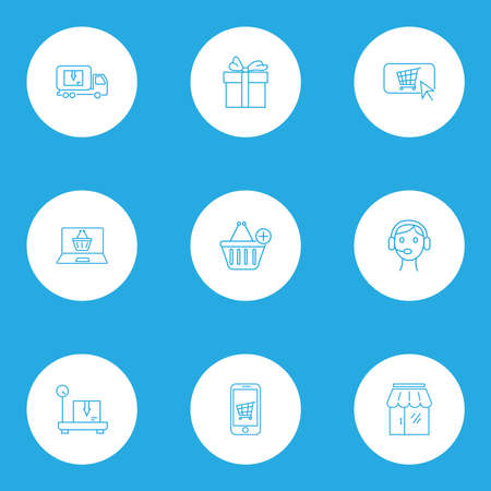 Commerce icons line style set with call center, delivery weighing, buy button and other storage scale   elements. Isolated vector illustration commerce icons.