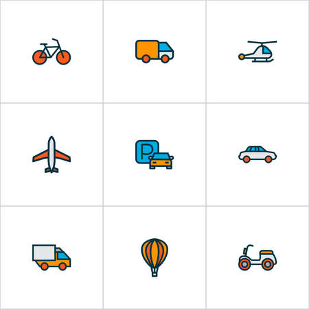 Shipment icons colored line set with van, bike, car and other van elements. Isolated vector illustration shipment icons.