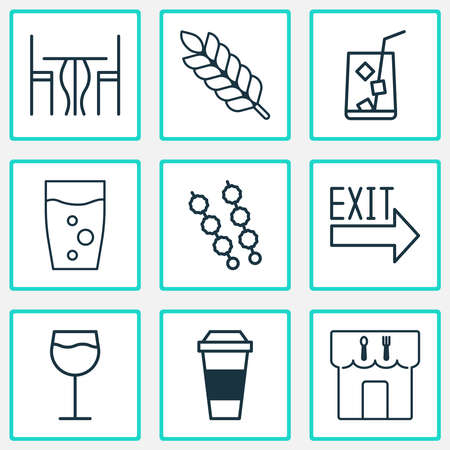 Eating icons set with table, kebab, eating house and other mocha elements. Isolated vector illustration eating icons. Ilustracja