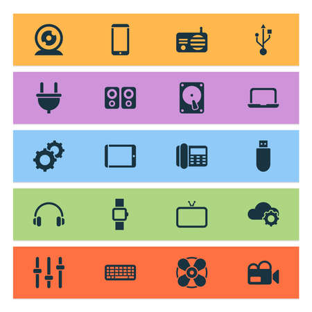 Device icons set with setting, fan, flash drive and other fm elements. Isolated vector illustration device icons.