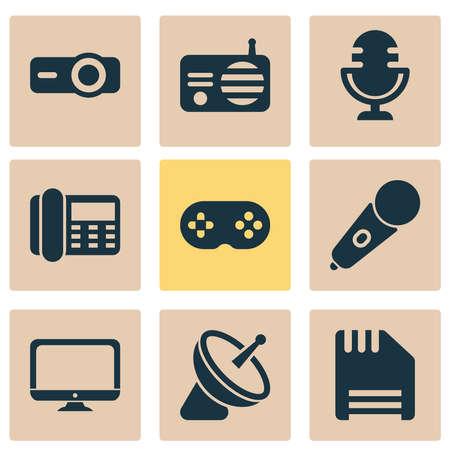 Electronics icons set with microphone, monitor, radio and other gamepad   elements. Isolated vector illustration electronics icons. Ilustracja