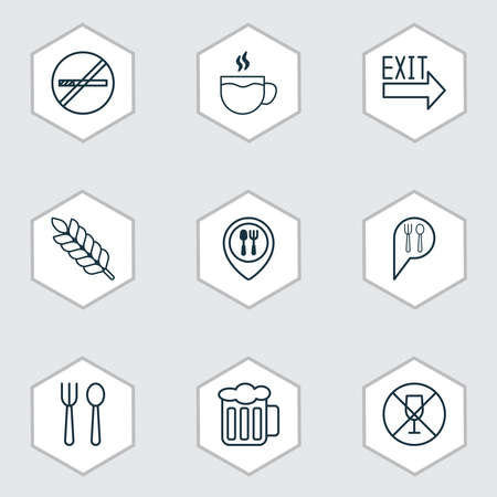 Restaurant icons set with plant, booking, restaurant location and other check in elements. Isolated vector illustration restaurant icons.