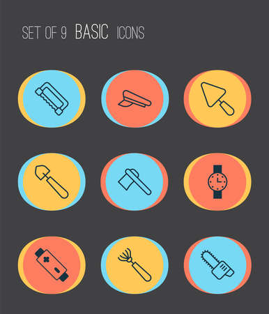 Tools icons set with pilot hat, rake, ax and other timer  elements. Isolated vector illustration tools icons.