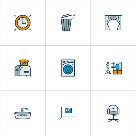 Home decoration icons colored line set with toaster, bathtub, trash bin and other coat stand   elements. Isolated vector illustration home decoration icons. Ilustracja