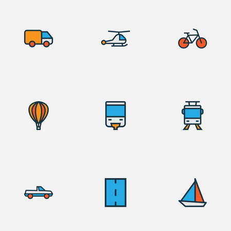 Shipment icons colored line set with road, monorail, bike and other suv elements. Isolated vector illustration shipment icons. Ilustracja