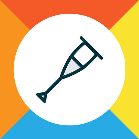 Stick icon colored line symbol. Premium quality isolated crutches element in trendy style. Vectores