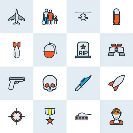 Battle icons colored line set with refugee, grenade, bomb and other missile elements. Isolated vector illustration battle icons. Ilustracja