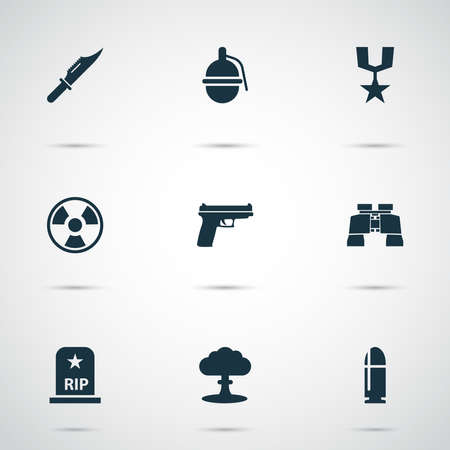 Combat icons set with bio hazard, knife, grenade and other glass elements. Isolated vector illustration combat icons.