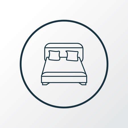Double bed icon line symbol. Premium quality isolated bedroom element in trendy style. Ilustracja