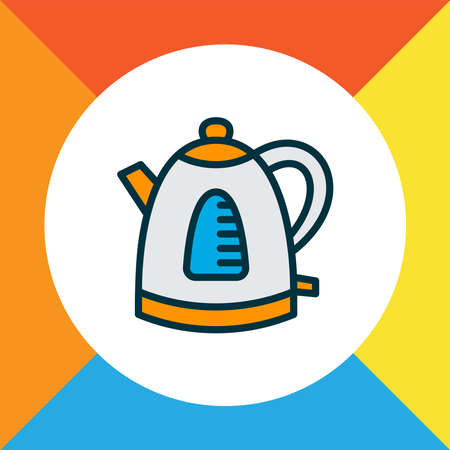 Electric kettle icon colored line symbol. Premium quality isolated teapot element in trendy style.