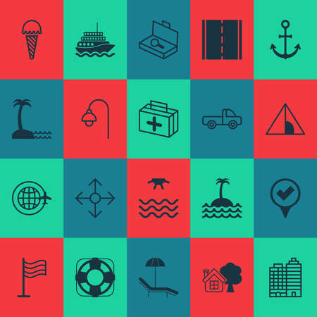 Tourism icons set with seaside place, beach, tent and other relax chair elements. Isolated vector illustration tourism icons. Ilustracja