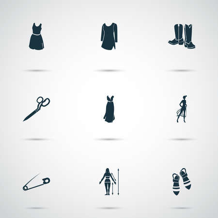 Fashionable icons set with evening wear, cowboy boots, tailor shears and other scissors elements. Isolated vector illustration fashionable icons.