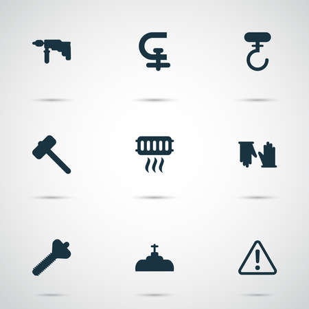 Industrial icons set with heating, caution, drill and other valve elements. Isolated vector illustration industrial icons.