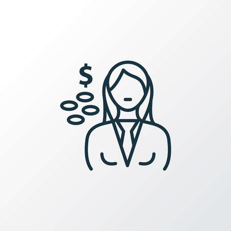 Cashier icon line symbol. Premium quality isolated seller woman element in trendy style. Ilustrace