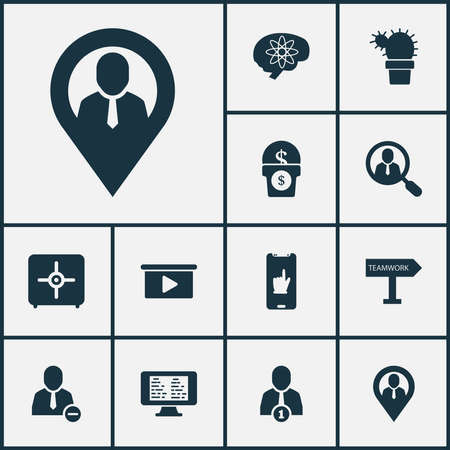 Teamwork icons set with brainstorming, team communication, geolocation and other strongbox elements. Isolated vector illustration teamwork icons.