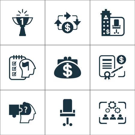 Work icons set with contract, office chair, benefit and other personal planning elements. Isolated vector illustration work icons.