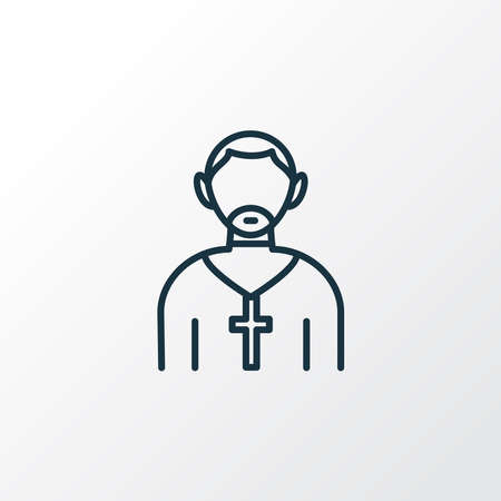 Priest icon line symbol. Premium quality isolated pastor element in trendy style.