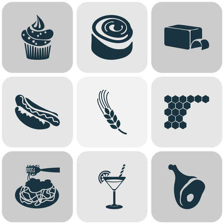 Meal icons set with pasta bolognese, hot dog, cupcake and other muffin elements. Isolated vector illustration meal icons.