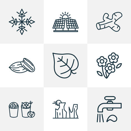 World icons line style set with snow, water crane, canyon and other valley elements. Isolated vector illustration world icons.