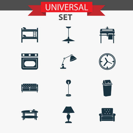 Interior icons set with wall clock, coffee table, double decker bed and other stove elements. Isolated vector illustration interior icons.