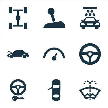 Automobile icons set with key, chassis, repair and other chronometer elements. Isolated vector illustration automobile icons.
