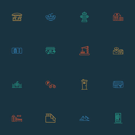 Urban icons line style set with carousel, wc cabin, police department and other vegetable shop elements. Isolated vector illustration urban icons.