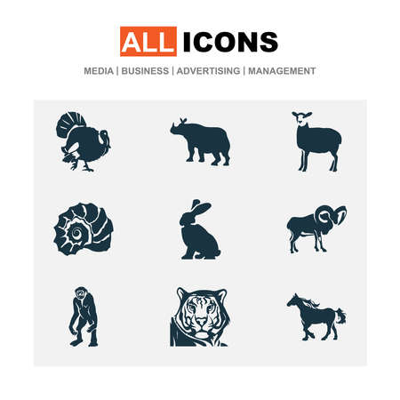 Zoo icons set with rabbit, sheep, horse and other leopard elements. Isolated illustration zoo icons.