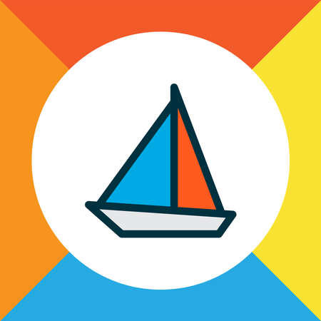 Sail boat icon colored line symbol. Premium quality isolated yacht element in trendy style. Stockfoto