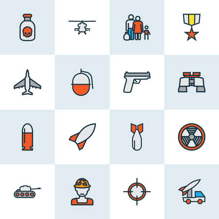 Army icons colored line set with poison, bullet, soldier and other bomb elements. Isolated illustration army icons. 版權商用圖片