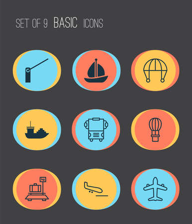 Shipping icons set with luggage weight, air balloon, barrier and other baggage elements. Isolated illustration shipping icons.
