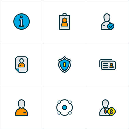 Work icons colored line set with privacy, job seeker, resume and other inform elements. Isolated illustration work icons.