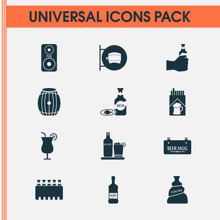 Drink icons set with liqueur, cocktail, cigarette and other beer in hand elements. Isolated illustration drink icons.