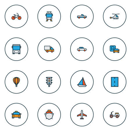 Transport icons colored line set with pickup, tram, traffic light and other tramway elements. Isolated illustration transport icons. Stockfoto