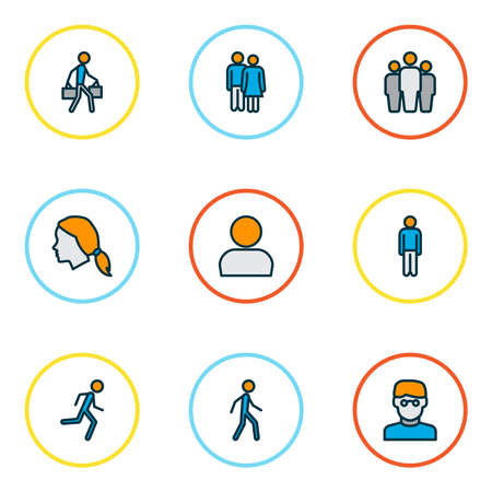 People icons colored line set with walking man, team, profile and other tourist elements. Isolated illustration people icons. Stock Photo