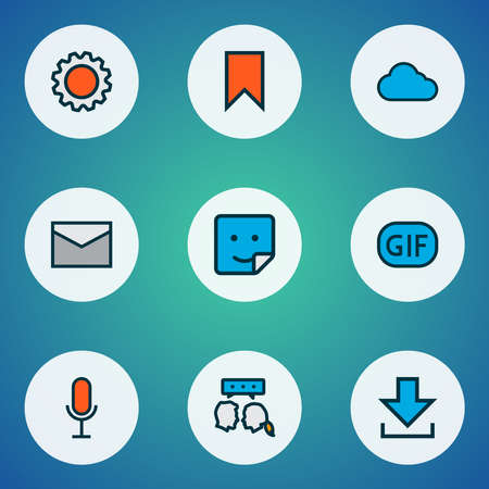 Network icons colored line set with gif sticker, settings, voice chat and other badge elements. Isolated illustration network icons. Standard-Bild