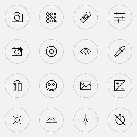 Photo icons line style set with plaster, filtration, eyesight and other brightness elements. Isolated illustration photo icons.