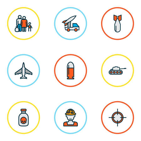 Warfare icons colored line set with refugee, poison, tank and other toxic bottle elements. Isolated illustration warfare icons. 版權商用圖片