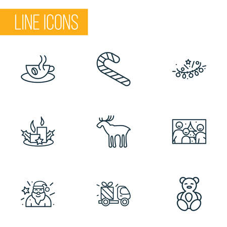 Christmas icons line style set with family photo, elk, gift delivery and other electricity elements. Isolated illustration christmas icons.