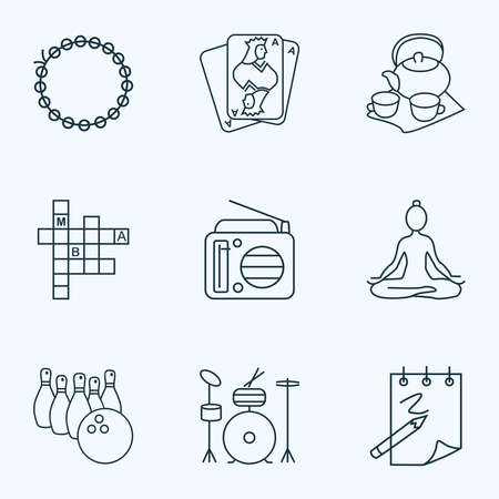 Lifestyle icons line style set with radio, playing cards, yoga and other meditation elements. Isolated illustration lifestyle icons. Stock Photo
