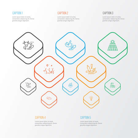Environment icons line style set with solar power, eco farming, factory and other ecology problem elements. Isolated illustration environment icons.