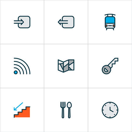 Navigation icons colored line set with way in, train, restaurant and other opener elements. Isolated illustration navigation icons.