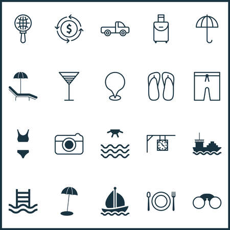Travel icons set with parasol, sea, tanker and other gingham elements. Isolated illustration travel icons. Stock Photo