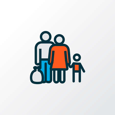 Refugee icon colored line symbol. Premium quality isolated fugitive element in trendy style.