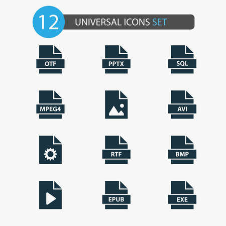 Types icons set with image, system, exe and other document elements. Isolated illustration types icons.