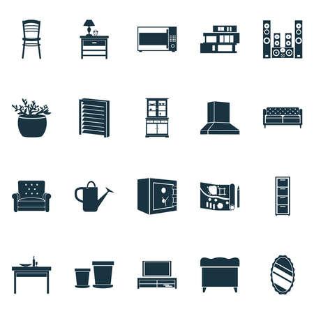 Wohnsymbole mit modernem Haus, Soundsystem, Buffet und anderen Nachttischelementen. Isolierte Vektor-Illustration Gehäuse Symbole.
